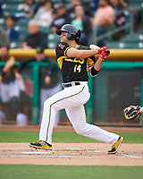 Ryan LaMarre (14) of the Salt Lake Bees follows through on his swing against the Fresno Grizzlies during the Pacific Coast League game at Smith's Ballpark on April 17, 2017 in Salt Lake City, Utah. The Bees defeated the Grizzlies 6-2. (Stephen Smith/Four Seam Images)