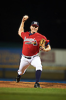 Mississippi Braves pitcher Mike Nesseth (52) delivers a pitch during a game against the Pensacola Blue Wahoos on May 28, 2015 at Trustmark Park in Pearl, Mississippi.  Mississippi defeated Pensacola 4-2.  (Mike Janes/Four Seam Images)
