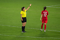 ORLANDO CITY, FL - FEBRUARY 18: The referee signals a free kick during a game between Canada and USWNT at Exploria stadium on February 18, 2021 in Orlando City, Florida.