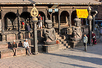 Bhaktapur, Nepal.  Dattatreya Temple, 15th. Century.  Wrestler-guardians Jayamel and Phattu flank the Stairs leading to the temple.  The temple was slightly damaged in the April 2015 earthquake, but survived.