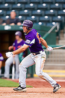 Jason Hockemeyer (15) of the Evansville Purple Aces follows through his swing during a game against the Missouri State Bears at Hammons Field on May 12, 2012 in Springfield, Missouri. (David Welker/Four Seam Images).