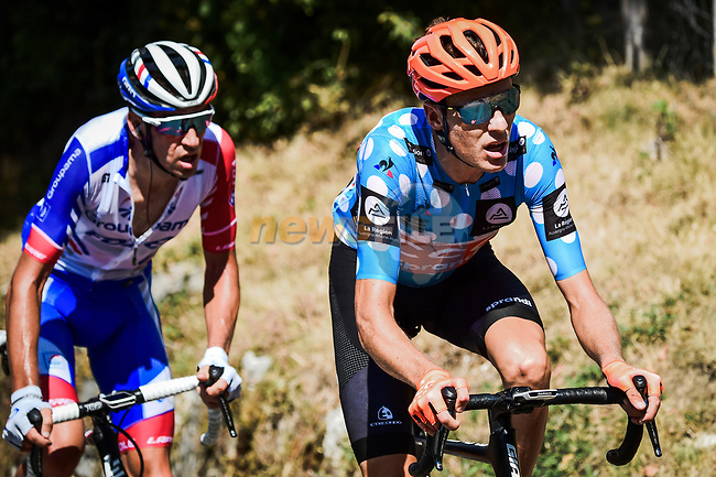 Polka Dot Jersey Michael Schär (SUI) CCC Team and Bruno Armirail (FRA) Groupama-FDJ from the breakaway out front during Stage 2 of Criterium du Dauphine 2020, running 135km from Vienne to Col de Porte, France. 13th August 2020.<br /> Picture: ASO/Alex Broadway | Cyclefile<br /> All photos usage must carry mandatory copyright credit (© Cyclefile | ASO/Alex Broadway)