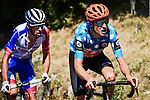 Polka Dot Jersey Michael Schär (SUI) CCC Team and Bruno Armirail (FRA) Groupama-FDJ from the breakaway out front during Stage 2 of Criterium du Dauphine 2020, running 135km from Vienne to Col de Porte, France. 13th August 2020.<br /> Picture: ASO/Alex Broadway   Cyclefile<br /> All photos usage must carry mandatory copyright credit (© Cyclefile   ASO/Alex Broadway)
