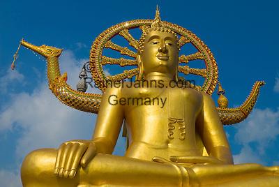 Thailand, Southern Thailand, Province Surat Thani, Ko Samui island: The Big Buddha at Wat Phra Yai   Thailand, Suedthailand, Provinz Surat Thani, Insel Ko Samui: Der Grosse Buddha im Wat Phra Yai Tempel