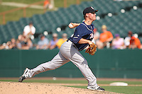 New Hampshire Fisher Cats pitcher Aaron Loup #32 delivers a pitch during a game against the Bowie Baysox at Prince George's Stadium on June 17, 2012 in Bowie, Maryland. New Hampshire defeated Bowie 4-3 in 13 innings. (Brace Hemmelgarn/Four Seam Images)