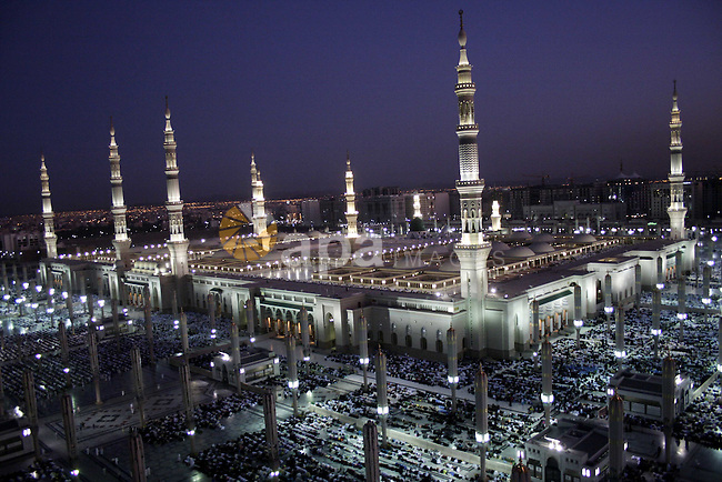A general view of the Prophet Mohammed Mosque in the Saudi holy city of Medina on November 12, 2009. More than three million Muslims are expected to converge on the holy cities of Mecca and Medina in western Saudi Arabia for the hajj which peaks this year during November 25-29. Islam's Prophet Mohammed is buried in Medina's landmark mosque, which is Islam's second holiest shrine after Mecca. Photo by Ashraf Amra