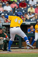 UC Santa Barbara Gauchos first baseman Austin Bush (44) at bat against the Miami Hurricanes in Game 5 of the NCAA College World Series on June 20, 2016 at TD Ameritrade Park in Omaha, Nebraska. UC Santa Barbara defeated Miami  5-3. (Andrew Woolley/Four Seam Images)