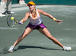 Eugenie Bouchard (CAN)  defeats Venus Williams (USA) 7-6, 2-6, 6-4 at the Family Circle Cup in Charleston, South Carolina on April 3, 2014.