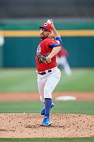 Buffalo Bisons starting pitcher Conor Fisk (49) delivers a pitch during a game against the Lehigh Valley IronPigs on June 23, 2018 at Coca-Cola Field in Buffalo, New York.  Lehigh Valley defeated Buffalo 4-1.  (Mike Janes/Four Seam Images)