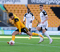 Wolverhampton Wanderers' Pedro Neto (left) scores his side's first goal <br /> <br /> Photographer David Horton/CameraSport<br /> <br /> The Premier League - Wolverhampton Wanderers v Fulham - Sunday 4th October 2020 - Molineux Stadium - Wolverhampton<br /> <br /> World Copyright © 2020 CameraSport. All rights reserved. 43 Linden Ave. Countesthorpe. Leicester. England. LE8 5PG - Tel: +44 (0) 116 277 4147 - admin@camerasport.com - www.camerasport.com