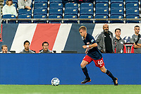 FOXBOROUGH, MA - AUGUST 5: Sean O'Hearn #40 of New England Revolution II dribbles during a game between North Carolina FC and New England Revolution II at Gillette Stadium on August 5, 2021 in Foxborough, Massachusetts.