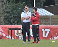 Denmark U17 - Belgium U17 : Belgium Coach Joelle Piron (rechts) en Luc Bosmans.foto DAVID CATRY / Vrouwenteam.be