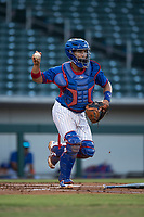 AZL Cubs catcher Henderson Perez (8) prepares to make a throw to first base during an Arizona League game against the AZL Brewers at Sloan Park on June 29, 2018 in Mesa, Arizona. The AZL Cubs 1 defeated the AZL Brewers 7-1. (Zachary Lucy/Four Seam Images)