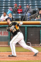 C.J. Cron (24) of the Salt Lake Bees at bat against the Sacramento River Cats at Smith's Ballpark on April 5, 2014 in Salt Lake City, Utah.  (Stephen Smith/Four Seam Images)