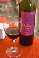 Domaine des Lauzes Cuvee Charlene, Corbieres 2002, Philippe Prevot in Tournissan. Carcassonne. At the Restaurant Auberge des Lices. Languedoc. France. Europe. Bottle. Wine glass.