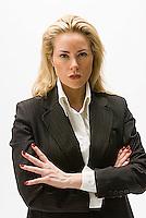 Blonde woman looking at camera