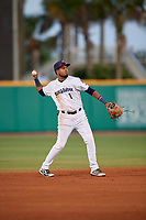 Pensacola Blue Wahoos shortstop Luis Arraez (1) warmup throw to first base during a Southern League game against the Biloxi Shuckers on May 3, 2019 at Admiral Fetterman Field in Pensacola, Florida.  Pensacola defeated Biloxi 10-8.  (Mike Janes/Four Seam Images)