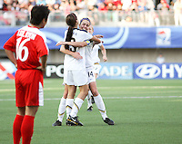 Santiago, Chile: American's player Alex Morgan (R)celebrate a goal against Korea DRP's team during the finals match, of the Fifa U-20 Womens World Cup the at Florida´s Municipal Stadium, on December 07 th, 2008. By Grosnia / ISIphotos.com.
