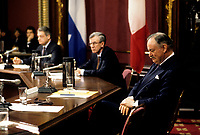 FILE -<br /> Jacques Parizeau lors de la Commission Belanger-Campeau au Salon Rouge de l'Assemblee Nationale,<br /> en mars 1993 (date exacte inconnue)<br /> <br /> <br /> PHOTO  : Pierre Roussel - Agence Quebec Presse