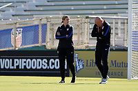 Cary, NC - Sunday October 22, 2017: Jill Ellis and Graeme Abel prior to an International friendly match between the Women's National teams of the United States (USA) and South Korea (KOR) at Sahlen's Stadium at WakeMed Soccer Park. The U.S. won the game 6-0.