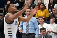 WASHINGTON, DC - NOVEMBER 16: Coach Jamion Christian of George Washington shoots out instructions during a game between Morgan State University and George Washington University at The Smith Center on November 16, 2019 in Washington, DC.