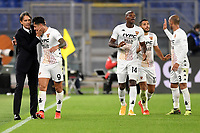 Gianluca Lapadula of Benevento Calcio celebrates with Filippo Inzaghi and team mates after scoring the goal of 2-2 during the Serie A football match between AS Roma and Benevento Calcio at Olimpico stadium in Roma (Italy), October 18th, 2020. Photo Antonietta Baldassarre / Insidefoto