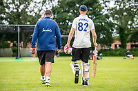 BNPS.co.uk (01202 558833)<br /> Pic: MaxWillcock/BNPS<br /> <br /> Pictured: Rob Franks practising batting with his new prosthetic blade at Parley Cricket Club in West Parley, Dorset.<br /> <br /> Disabled cricketer Rob Franks is back in the runs after raising £12,000 to buy a prosthetic blade.<br /> <br /> Rob, 42, can now sprint between the wickets when batting, run into bowl and chase after the ball in the field. <br /> <br /> Rob Franks, from Poole, Dorset, had his left leg amputated above the knee three years ago after suffering an injury while playing a match.