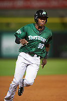 Daytona Tortugas Aristides Aquino (99) running the bases during a game against the Clearwater Threshers on April 19, 2016 at Bright House Field in Clearwater, Florida.  Clearwater defeated Daytona 4-1.  (Mike Janes/Four Seam Images)