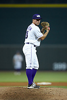 Winston-Salem Dash relief pitcher Jacob Lindgren (28) looks to his catcher for the sign against the Lynchburg Hillcats at BB&T Ballpark on August 1, 2019 in Winston-Salem, North Carolina. The Dash defeated the Hillcats 9-7. (Brian Westerholt/Four Seam Images)
