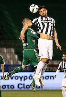 """Pictured: Sotiris Papagiannopoulos (R), when he played for PAOK Salonika in Greece. STOCK PICTURE<br /> Re: Swedish centre-back Sotiris Papagiannopoulos is joining Premier League side Swansea City for a trial.<br /> The 26-year-old is contracted to Swedish club Ostersunds FK, so could only sign for the Swans when the transfer window reopens in January.<br /> Swansea say Stockholm-born Papagiannopoulos will train with them for """"a few days"""".<br /> The club have a working relationship with Ostersunds, having signed forward Modou Barrow from them in 2014."""