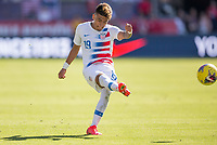 CARSON, CA - FEBRUARY 1: Ulysses Llanez Jr #19 of the United States passes off the ball during a game between Costa Rica and USMNT at Dignity Health Sports Park on February 1, 2020 in Carson, California.