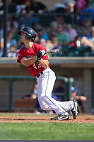 Stuart Fairchild (43) of the Billings Mustangs follows through on his swing against the Missoula Osprey at Dehler Park on August 20, 2017 in Billings, Montana.  The Osprey defeated the Mustangs 6-4.  (Brian Westerholt/Four Seam Images)