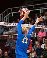 STANFORD, CA - NOVEMBER 17: Stanford, CA - November 17, 2019: Kathryn Plummer at Maples Pavilion. #4 Stanford Cardinal defeated UCLA in straight sets in a match honoring neurodiversity. during a game between UCLA and Stanford Volleyball W at Maples Pavilion on November 17, 2019 in Stanford, California.