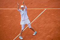 10th October 2020, Roland Garros, Paris, France; French Open tennis, Ladies singles final 2020;  Iga SWIATEK POL celebrates after winning her match against Sofia KENIN USA in the Philippe Chatrier court during the Final of the French Open tennis tournament