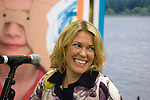"""Welsh musicians Cerys Matthews (Ex Catatonia) undertaking a question and answer session with members of the public inside Swansea Central Library today, to help publicise the """"Happy Days"""" campaign which demonstrates how libraries can make you happy. .The campaign is running all over Wales.."""