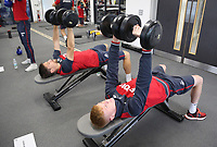 Federico Fernandez and Sam Clucas exercise in the gym during the Swansea City Training at The Fairwood Training Ground, Swansea, Wales, UK. Wednesday 27 September 2017