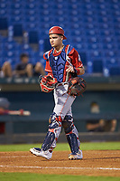 Catcher Ian Moller (40) of Wahlert Catholic School in Dubuque, IA playing for the Cincinnati Reds scout team during the East Coast Pro Showcase at the Hoover Met Complex on August 2, 2020 in Hoover, AL. (Brian Westerholt/Four Seam Images)