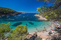Spain, Cala Salada near Sant Antoni de Portmany during the Summer Holidays, Island of Ibiza, Balearic Islands, Spain