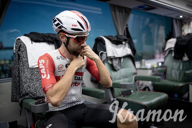 Thomas de Gendt (BEL/Lotto-Soudal) on the teambus at the stage start, prepping for Stage 14: San Vicente de la Barquer to Oviedo (188km)<br /> <br /> La Vuelta 2019<br /> <br /> ©kramon