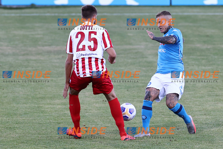 Amato Ciceretti of Napoli SSC compete for the ball<br /> during the friendly football match between SSC Napoli and SS Teramo Calcio 1913 at stadio Patini in Castel di Sangro, Italy, September 04, 2020. <br /> Photo Cesare Purini / Insidefoto