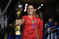 CHARLOTTE, NC - OCTOBER 03: Ali Krieger #11 with the WC Trophy of the United States prior to their game versus Korea Republic at Bank of American Stadium, on October 03, 2019 in Charlotte, NC.