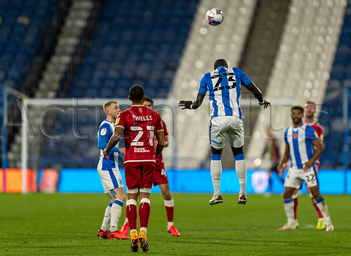3rd November 2020, The John Smiths Stadium, Huddersfield, Yorkshire, England; English Football League Championship Football, Huddersfield Town versus Bristol City; Mouhamadou-Naby Sarr of Huddersfield Town wins a header
