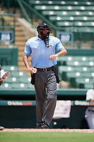 Umpire Thomas O'Neil during a game between the GCL Rays and GCL Orioles on July 21, 2017 at Ed Smith Stadium in Sarasota, Florida.  GCL Orioles defeated the GCL Rays 9-0.  (Mike Janes/Four Seam Images)