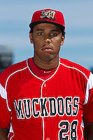 Batavia Muckdogs infielder David Washington #28 poses for a photo during media day at Dwyer Stadium on June 14, 2012 in Batavia, New York.  (Mike Janes/Four Seam Images)