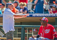 15 March 2016: Baseball photographer Steve Moore catches up with Washington Nationals Manager Dusty Baker prior to the start of a Spring Training pre-season game against the Houston Astros at Osceola County Stadium in Kissimmee, Florida. The Nationals defeated the Astros 6-4 in Grapefruit League play. Mandatory Credit: Ed Wolfstein Photo *** RAW (NEF) Image File Available ***