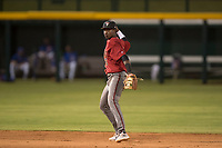 AZL Diamondbacks shortstop Geraldo Perdomo (12) makes a throw to first base during an Arizona League game against the AZL Cubs 1 at Sloan Park on June 18, 2018 in Mesa, Arizona. AZL Diamondbacks defeated AZL Cubs 1 7-0. (Zachary Lucy/Four Seam Images)