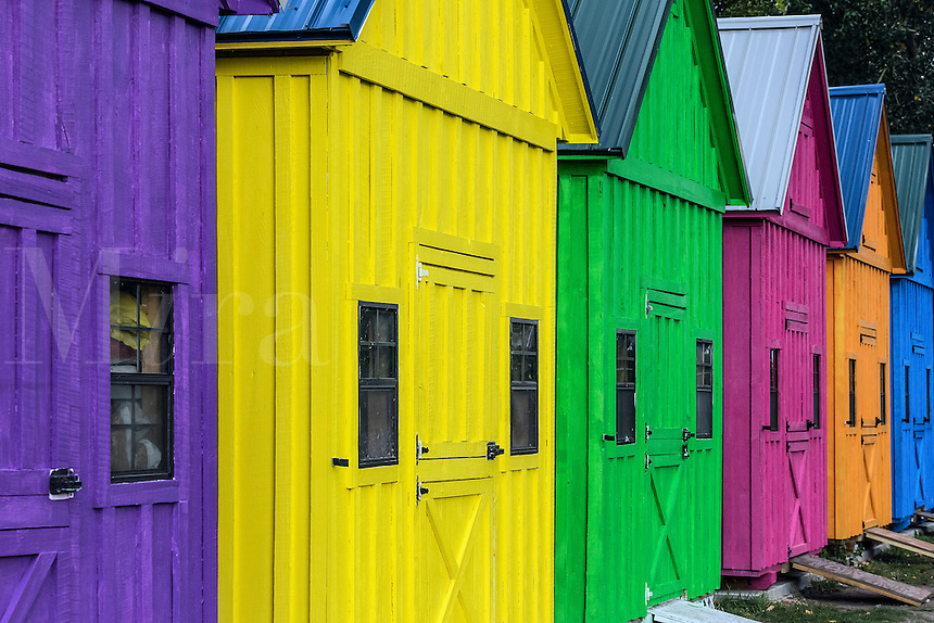Coloful sheds at Lighthouse Point Park, Buffalo, New York, USA.