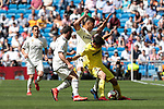 Real Madrid's Carlos Henrique Casemiro and Villarreal CF's Gerard during La Liga match between Real Madrid and Villarreal CF at Santiago Bernabeu Stadium in Madrid, Spain. May 05, 2019. (ALTERPHOTOS/A. Perez Meca)