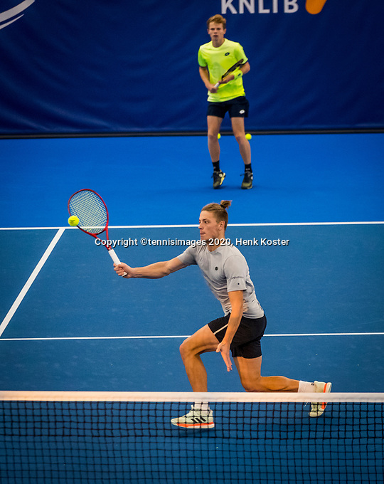 Amstelveen, Netherlands, 16  December, 2020, National Tennis Center, NTC, NK Indoor, National  Indoor Tennis Championships,  Doubles : Jesper de Jong (NED) (back) and Tim van Rijthoven (NED) <br /> Photo: Henk Koster/tennisimages.com