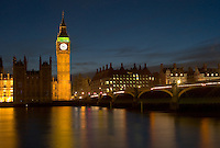 Big Ben and the Westminster Bridge reflected in the river Thames, London, England